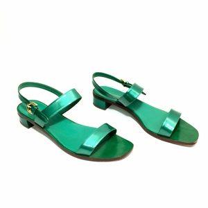 Sergio Rossi Emerald Green Patent Leather Sandals